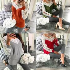 Women Off Shoulder Lace T-Shirt Tops Casual Blouse Shirt Jumper Pullover I9P1