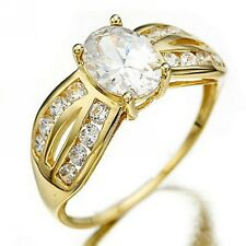 Size 6,7,8,9 Band White Topaz 18K Gold Filled Wedding Womens Engagement Rings