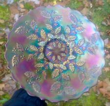 """CARNIVAL SUPERIOR BLUE HOLLY PLATE WITH IRIDESCENCE TO DIE FOR  """"KILLER COLOR"""""""