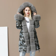 Women Camouflage Jacket  Parka Real Fox Winter Thick Warm Hooded Fur Liner Coat