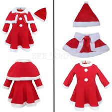 Baby Santa Costume Girls Kids Christmas Party Dress+Shawl+Hat Outfit Clothes Set