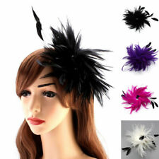 Black Hair Alligator Clip Fascinator Corsage Pin Feather Cocktail Lady Headpiece
