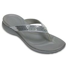 CROCS Women's Capri V Sequin Flip 204311-040 Silver Canvas Straps Thong Sandals