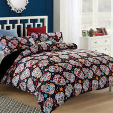 Floral Skull Duvet/Doona/Quilt Cover Set Cartoon Queen/King Size Colorful New
