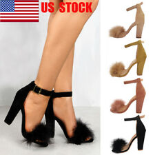 US Womens Block High Heel Sandals Ladies Ankle Strap Peep Toe Party Shoes Size