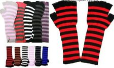 Stripe Fingerless Acrylic Sweater Knit Gloves/Hand Arm Warmers *8 Colors* OS