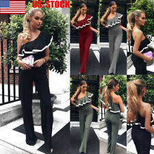 US Women One Shoulder Jumpsuit Ruffled Wide Leg Pants Party Club Romper Playsuit
