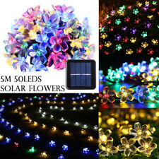 50LEDs Solar Powered Flower Outdoor Patio Party Garden LED String Lights Lamps