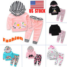 UK Toddlers Kids Flower Striped Long Sleeve Hoodie+Pants Trouser Outfit Set Suit