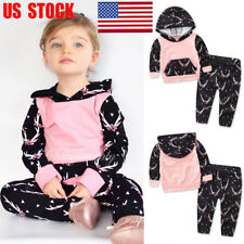 US Baby Clothes Girls Set Hooded Tops Long Pants Hoodie Casual Outfits Kids Suit