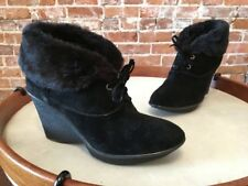 B Makowsky Nellie Black Suede Oxford Wedge Ankle Boot Bootie New