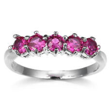 5 Stones Gorgeous Engagement Jewelry Round Rose Topaz Gems Silver Ring Size 6-10