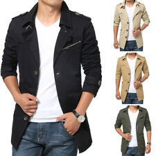 Men's Striped Trench Collar Basic Jacket Button Casual Coat Pocket Plain Outwear