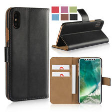 Genuine Leather Wallet Case Slim Flip Stand Cover For Apple iPhone X 8 7 Plus