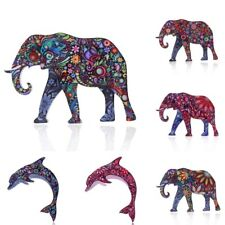 Fashion Colorful Printing Animal Elephant Dolphin Brooch Pin Women Jewelry Gift