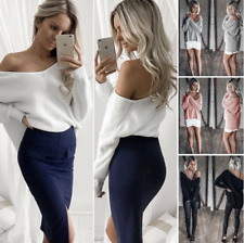 Womens Sexy V-neck Off Shoulder Long Sleeve Jumpers Tops Ladies Pullover Blouse
