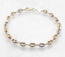 4.5mm All Shiny Puffed Gucci Mariner Link Bracelet Real Solid 14K Yellow Gold