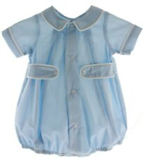 Infant Boys Blue & White Bubble Outfit with Side Tabs