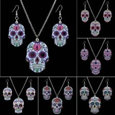 Fashion Print Pattern Skull Pendant Necklace Earring Jewelry Sets Xmas Gift Hot