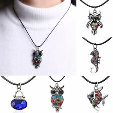 Women Vintage Silver Crystal Rhinestone Animal Owl Fish Pendant Necklace Jewelry
