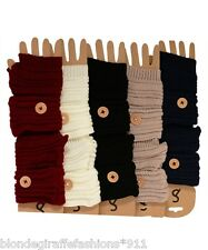Button Cuff Fingerless Acrylic Sweater Knit Gloves/Arm Warmers OS