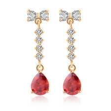 Lovely 18K Gold Plated Rhinestone Bow Teardrop Dangle Earrings Girls