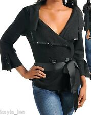 Black Sequin Shawl Collar 3/4 Sleeve Double Button Front Dress Jacket/Coat