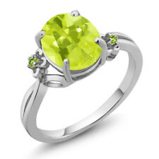 2.04 Ct Oval Yellow Lemon Quartz Green Simulated Peridot 18K White Gold Ring