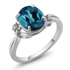 2.84 Ct Oval London Blue Topaz White Topaz 14K White Gold Ring