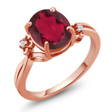 2.73Ct Red Mystic Quartz White Created Sapphire 18K Rose Gold Plated Silver Ring