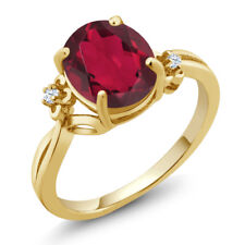 2.73 Ct Oval Red Mystic Quartz White Created Sapphire 14K Yellow Gold Ring