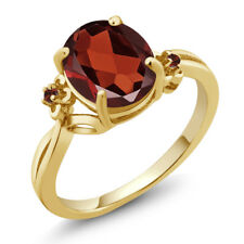 2.54 Ct Oval Red Garnet 18K Yellow Gold Plated Silver Ring