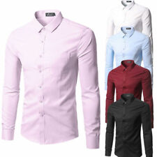 Mens Fashion Luxury Casual Stylish Slim Fit Long Sleeve Casual Dress Shirts Hot~