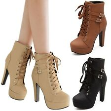 Casual Vintage Army Shoes Booties Winter High Heels Lace Up Boots US 3-14.5