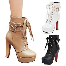 Sexy High Heels Womens Army Shoes Rock Buckle Ladies ankle Boots US 2-13.5