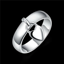 Fashion Silver Plated Heart Lock Engagement Promise Ring Charming Gift Dreamed