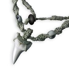 Macrame Necklace SHARK TOOTH SURFER FOSSIL Surf Goa