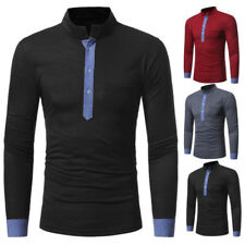 BA_ MEN'S STAND-UP COLLAR COLOR BLOCK LONG SLEEVE T-SHIRT CASUAL SLIM FIT TOP FU