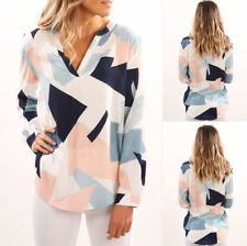 UK Womens Blouse Long Sleeve Ladies T Shirt Casual Loose V Neck Tops Size 6-18