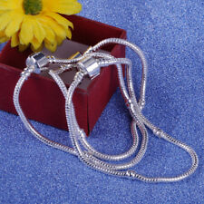 10x Silver Plated Charm Bead Snake Chain Bracelets 19/20/21cm with Barrel Clasp