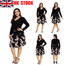 UK Women Ladies V-Neck Long Sleeves Crane Print Party Midi Swing Dress Plus Size