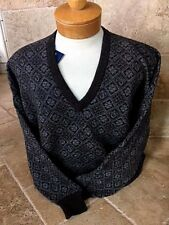 "New NWT Pringle Lambswool V-neck Mens L ""Brown Twist"" Vintage Pattern Sweater"