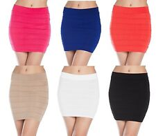 Stretch Fitted Pleated Tier Bandage Bodycon Pencil Mini Skirt S M L