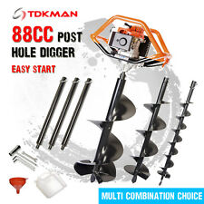 TDKMAN 88CC Petrol Post Hole Digger Earth Auger 100 200 300 400mm Drill Fence Ex