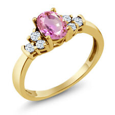 0.87 Ct Oval Pink Sapphire White Topaz 18K Yellow Gold Plated Silver Ring