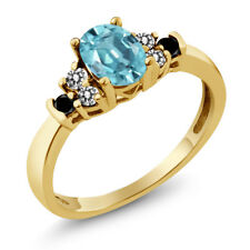 1.01 Ct Oval Blue Zircon White Diamond 18K Yellow Gold Plated Silver Ring