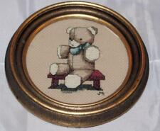 """Vintage Framed Needlepoint Teddy Bear Picture Hand Made 1980's 6.5"""" Diameter Old"""