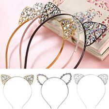 Cat Ears Rhinestone Heart Headband Hair Accessories Band Costume Party Cosplay