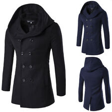 Mens Hoodies Long Coat Trench Parka Split Jacket Hooded Overcoat Button Outwear