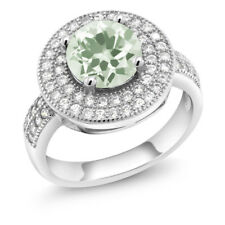 2.26 Ct Round Green Amethyst 925 Sterling Silver Ring